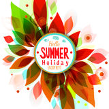 Hot summer holidays background with circle sticker Stock Images