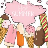 Hot summer. Ice cream of different types. Ice cream melts in the summer heat. Bright stylish layout on white background. Hot summer. Tasty colorful ice cream of royalty free illustration