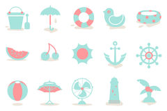 Hot summer icon 01. Vacation package for Hot summer ! There are simple icons related to sea, beach sports, fruits, a swimming and a trip which can be used for stock illustration