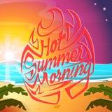 Hot summer morning. Hand drawing summer lettering. Summer vector illustration. Hot summer morning. Hand drawing summer lettering. Summer vector illustration Royalty Free Stock Image