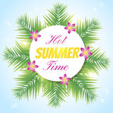 Hot summer1. Nice banner with hot summer time text and palm leaves and flowers Stock Image