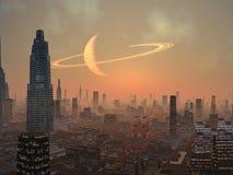 Hot Summer Night in Alien City vector illustration