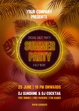 Summer Night Party Poster Template Royalty Free Stock Images