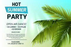 Hot summer party invitation concept. Text on light background. Green palm leaves and sun rays. Colorful vector template Stock Photo