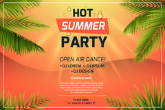Hot summer party invitation concept. Text on sunset background. Frame of tropical leaves. Colorful vector template for. Flyer, banner, web page, advertising Stock Photography