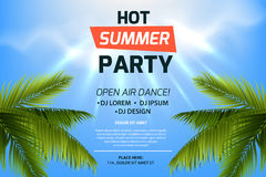 Hot summer party invitation concept. Text on tropic background. Blue sky and palm leaves. Open air illustration. Colorful template for flyer, banner, web page Royalty Free Stock Image
