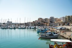 Hot summer port of Heraklion royalty free stock photos