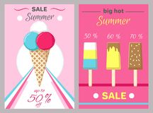 Hot Summer Posters Set with Ice Cream Vector. Big hot summer posters set with ice cream in waffle cones and on wooden stick vector illustration banners set on Royalty Free Stock Photography