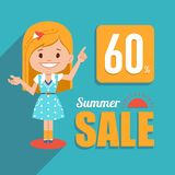 Hot summer sale banner. Shopping illustration with pretty girl character. Seasonal sale. Discount 60. Big summer sale. Hot summer sale banner. Advertising Royalty Free Stock Photography