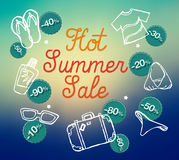 Hot summer sale banner  illustration Royalty Free Stock Photography