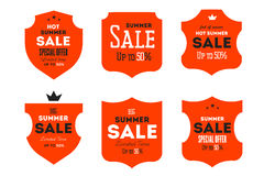Hot summer sale banner. Retro styled typography label. Vintage text sticker design. Stock Photography