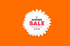 Hot summer sale banner. Retro styled typography label. Vintage text sticker design. Stock Photos