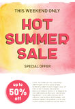 Hot summer sale banner template offer flyer background. Discount design Royalty Free Stock Image
