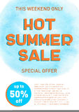 Hot summer sale banner template offer flyer background. Discount design Stock Images