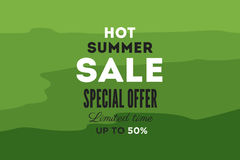 Hot summer sale banner. Vector discount banner template. Retro styled typography label. Royalty Free Stock Images