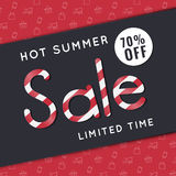 Hot summer sale, discount special offer banner template. Website advertising and promotion. Royalty Free Stock Photo