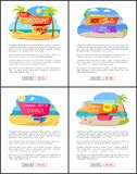 Hot Summer Sale with Discount Up to 35 Promo Set. Golden beaches on banners with summer sale. Great discount only for summer vector illustrations Stock Photo