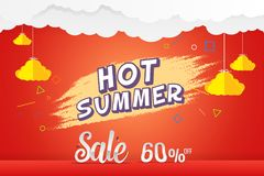 Hot summer 60% sale discount vector template. Hot summer 60% sale discount offer background vector template design Royalty Free Stock Images