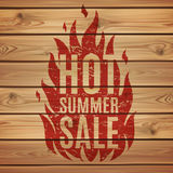 Hot summer sale. Fire print wooden planks Royalty Free Stock Photography