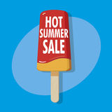 Hot summer sale. Ice on a stick - hot summer sale illustration Stock Image