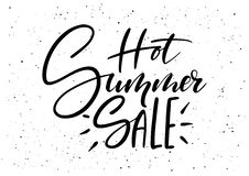 Hot Summer Sale. Ink brush pen hand drawn phrase lettering design. Vector illustration isolated on a ink grunge background, typography for card, banner, poster Stock Image