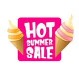 Hot summer sale label or tag with melting ice cream. Vector hot summer sale pink banner or icon. Hot summer sale label with melting ice cream. Vector hot summer stock illustration