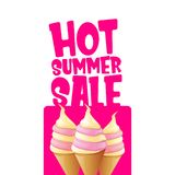 Hot summer sale label or tag with melting ice cream. Vector hot summer sale pink banner or icon. Hot summer sale label with melting ice cream. Vector hot summer vector illustration