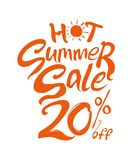 Hot Summer Sale. 20% off. Hand lettering and sun vector poster. Hand lettering inspirational typography poster. Handwritten banner, logo, label or badge stock illustration