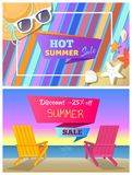 Hot Summer Sale with 25 Off Promo Posters Set. Blanket with sunglasses and hat, deck chairs at beach. Summer discount banners vector illustrations Stock Photos