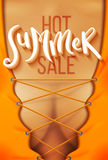 Hot summer sale. Poster. Handmade lettering over tanned skin. Vector illustration Royalty Free Stock Photos