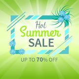Hot Summer Sale Poster Up to 70 Off Banner Vector. Hot summer sale poster up to 70 off banner frame decorated by blue flowers, green sunlight rays on decorative Stock Images