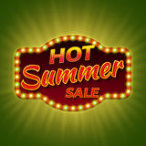 Hot summer sale. Retro light banner. Vintage frame with shining bulbs. Royalty Free Stock Images