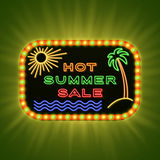 Hot summer sale. Retro neon light banner. Vintage frame with shining bulbs and neon text. Stock Photos