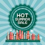 Hot Summer Sale Retro Vector Card Stock Photo