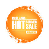 Hot Summer Sale special offer banner with circle brush stroke background for business, promotion and commerce. Royalty Free Stock Photo