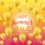 Hot Summer Sale Sun Golden Balloons Frame. Frame with golden balloons, summer sky and text Hot Summer Sale Royalty Free Stock Photo