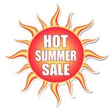 Hot summer sale in sun label Royalty Free Stock Images