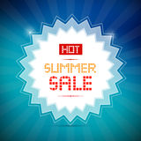 Hot Summer Sale Title. On Vector Blue Background Royalty Free Stock Images