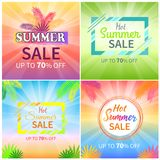 Hot Summer Sale Up to 70 Off Promotional Banners. Hot summer sale up to 70 off colorful promotional banners with palm leaves, big signs and gradient backgrounds royalty free illustration