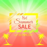 Hot Summer Sale Up to 70 Off Promotional Placard. With sign inside rectangular frame on gradient background and palm silhouettes vector illustration royalty free illustration
