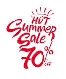 Hot Summer Sale vector illustration. Discounts 70% off. Hand lettering inspirational typography poster. Handwritten banner, logo, label or badge Royalty Free Stock Photos