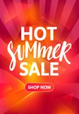 Hot Summer Sale Vertical Banner Design. Hand Drawn Text on Bright Colorful Background. Vector Advertising Illustration