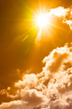 Hot Summer Sky. Warm Summer Sky with Clouds and Sunrays Stock Photos