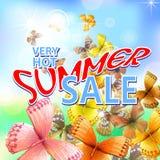 Hot summer 01. Summer sale background, vector illustration clip-art Stock Photo