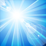 The hot summer sun. Blue sky with hot summer sun Stock Photos