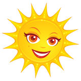 Hot Summer Sun. Vector cartoon illustration of a hot smiling summer sun with a pretty female face vector illustration