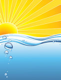 Hot summer sun. The hot summer sun background with water Royalty Free Stock Photography