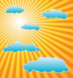 The hot summer sun. With blue clouds Royalty Free Stock Photography