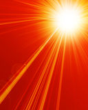 Hot summer sun. With warm red background Stock Images