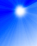 Hot summer sun. In a clear blue sky Stock Images